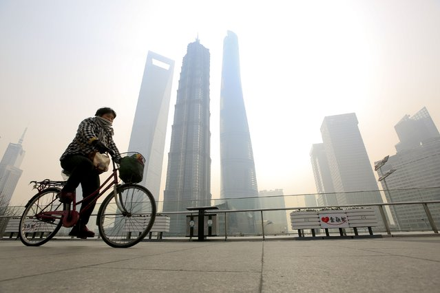 A woman covers her nose and mouth with her scarf amid heavy haze, as she rides a bicycle at the Pudong financial area in Shanghai, February 12, 2015. (Photo by Aly Song/Reuters)