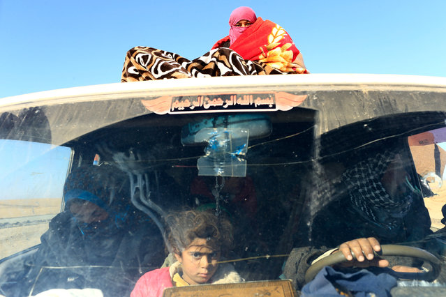 Displaced people who are fleeing clashes, ride on a vehicle in the outskirts of Mosul, Iraq, December 6, 2016. (Photo by Thaier Al-Sudani/Reuters)
