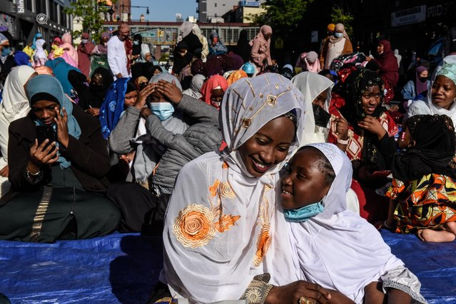 Muslim worshipers prepare to hold morning Eid al-Fitr prayers in the Brooklyn borough of New York City, New York, U.S., May 13, 2021. (Photo by Stephanie Keith/Reuters)