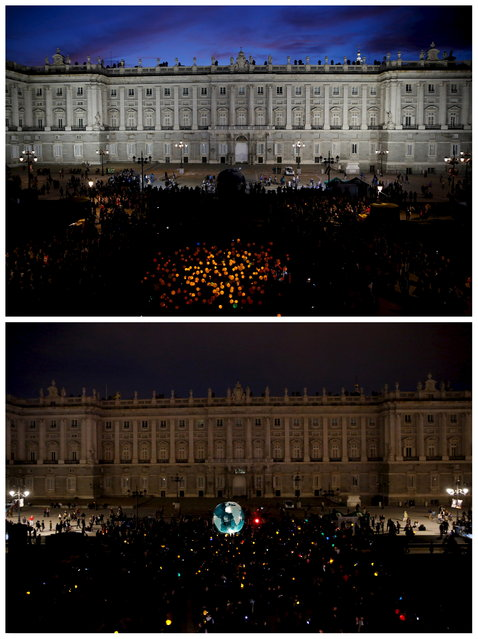 A combination picture shows Madrid's Royal Palace before and during the Earth Hour in Madrid March 28, 2015. (Photo by Susana Vera/Reuters)