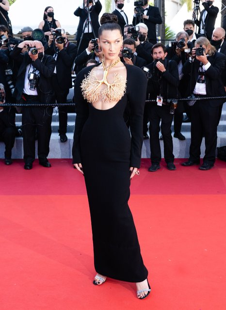 """Bella Hadid attends the """"Tre Piani (Three Floors)"""" screening during the 74th annual Cannes Film Festival on July 11, 2021 in Cannes, France. (Photo by Samir Hussein/WireImage)"""