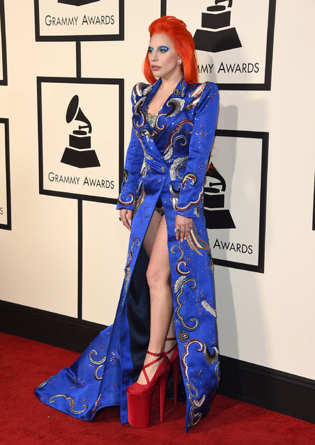 Lady Gaga arrives at the 58th annual Grammy Awards at the Staples Center on Monday, February 15, 2016, in Los Angeles. (Photo by Jordan Strauss/Invision/AP Photo)