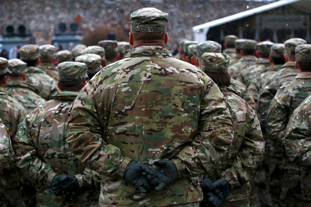 U.S. army soldiers attend an official welcoming ceremony for U.S. troops deployed to Poland as part of NATO build-up in Eastern Europe in Zagan, Poland, January 14, 2017. (Photo by Kacper Pempel/Reuters)