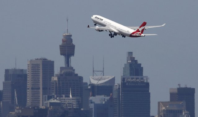 A Qantas Airways Airbus A330-300 jet takes off from Sydney International Airport over the city skyline, in this December 18, 2015 file photo. Australia's Qantas Airways Ltd on February 23, 2016 posted a record first-half profit as the lower oil price shrank its biggest single overhead, and wooed investors with a second straight A$500 million ($361 million) share buy-back. (Photo by Jason Reed/Reuters)