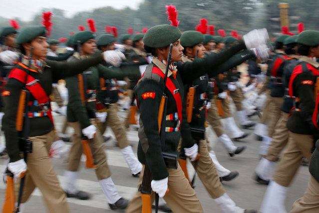 Cadets take part in a rehearsal for India's Republic Day parade in New Delhi, India January 17, 2017. (Photo by Cathal McNaughton/Reuters)