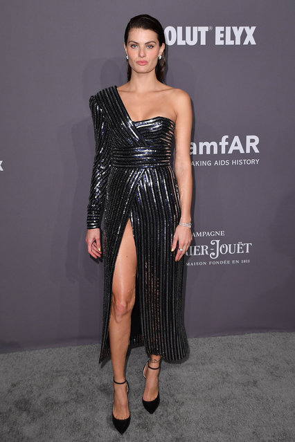 Brazilian model Isabeli Fontana arrives to attend the amfAR Gala New York at Cipriani Wall Street in New York City on February 6, 2019. (Photo by Angela Weiss/AFP Photo)