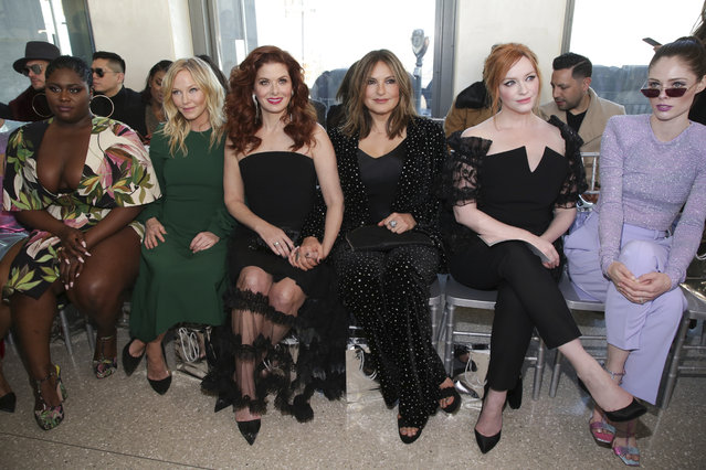 Actresses Danielle Brooks, from left, Kelli Giddish, Debra Messing, Mariska Hargitay, Christina Hendricks and model Coco Rocha attend the Christian Siriano Runway Show held at Top of the Rock at Rockefeller Center during New York Fashion Week on Saturday, February 9, 2019 in New York. (Photo by Brent N. Clarke/Invision/AP Photo)