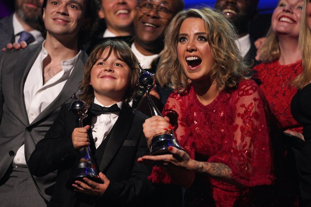 10 year old Jude Riordan and his co-stars celebrate their awards for best serial Coronation street at the 26th National Television Awards, Show, O2 arena in London, United Kingdom on September 9, 2021. (Photo by Scott Garfitt/Rex Features/Shutterstock)