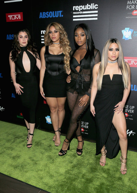 (L-R) Recording artists Lauren Jauregui, Dinah Jane, Normani Kordei, and Ally Brooke of Fifth Harmony at a celebration of music with Republic Records, in partnership with Absolut and Pryma, at Catch LA on February 12, 2017 in West Hollywood, California. (Photo by Jemal Countess/Getty Images for Republic Records)