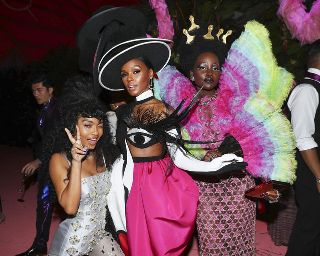 (L-R) Yara Shahidi,  Janelle Monae, and Lupita Nyong'o attend The 2019 Met Gala Celebrating Camp: Notes on Fashion at Metropolitan Museum of Art on May 06, 2019 in New York City. (Photo by Kevin Tachman/MG19/Getty Images for The Met Museum/Vogue)