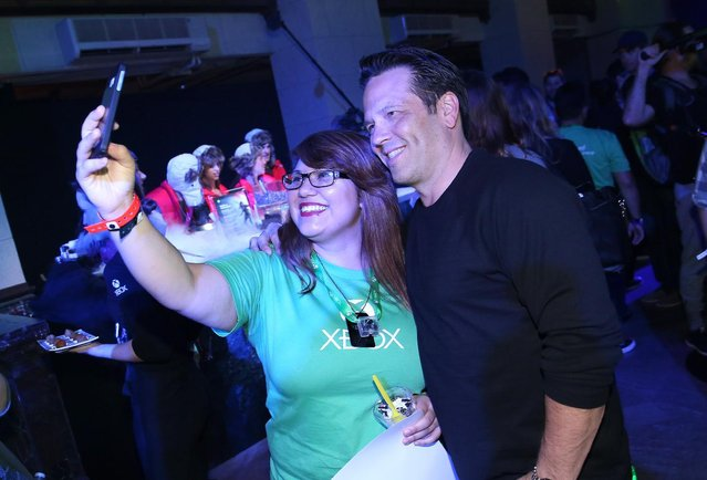 Phil Spencer, Head of Xbox, mingles with excited fans who have the ultimate Xbox E3 experience at Xbox FanFest: E3 2015 in Los Angeles on Monday, June 15, 2015. (Photo by Matt Sayles/Invision for Microsoft/AP Images)