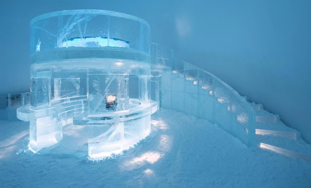 The amount of snow used to create the hotel church and a bar would make 700million snowballs. (Photo by Icehotel.com/Exclusivepix Media)