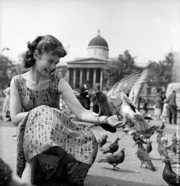 1956: Television actress Catherine Fuller visits Trafalgar Square in London and feeds the famous pigeons