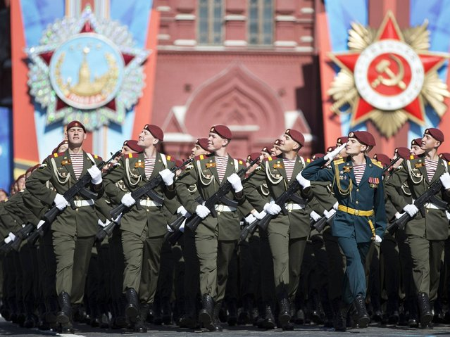 Thousands of Russian troops marched on Red Square in the annual Victory Day parade in a proud display of the nation's military might amid escalating tensions over Ukraine. (Photo by Pavel Golovkin/AP Photo)