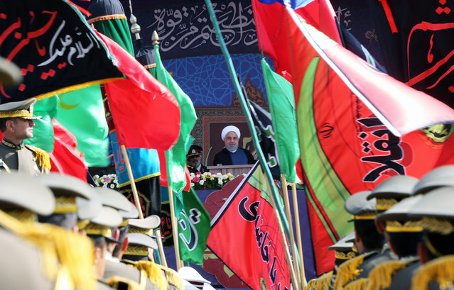 Iranian President Hassan Rouhani speaks during a military parade marking the 39th anniversary of the outset of the Iran-Iraq war, in front of the shrine of Ayatollah Khomeini, in Tehran, Iran, on September 22, 2019. (Photo by Fatemah Bahrami/Anadolu Agency via Getty Images)