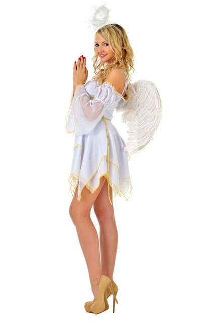 Beautiful blonde in fancy dress costume of angel. (Photo by Dmitriy Raykin/Shutterstock)