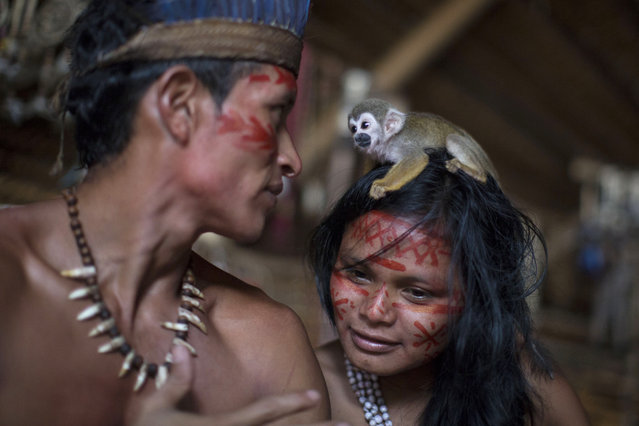 A small monkey sits atop the head of a woman in the Tatuyo indigenous community near Manaus, Brazil, Monday, May 19, 2014. Manaus is one of the host cities for the 2014 World Cup in Brazil. (Photo by Felipe Dana/AP Photo)