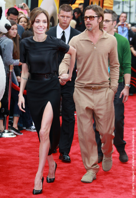 Actors Angelina Jolie and Brad Pitt attend the premiere of DreamWorks Animation's 'Kung Fu Panda 2' at Mann's Chinese Theatre