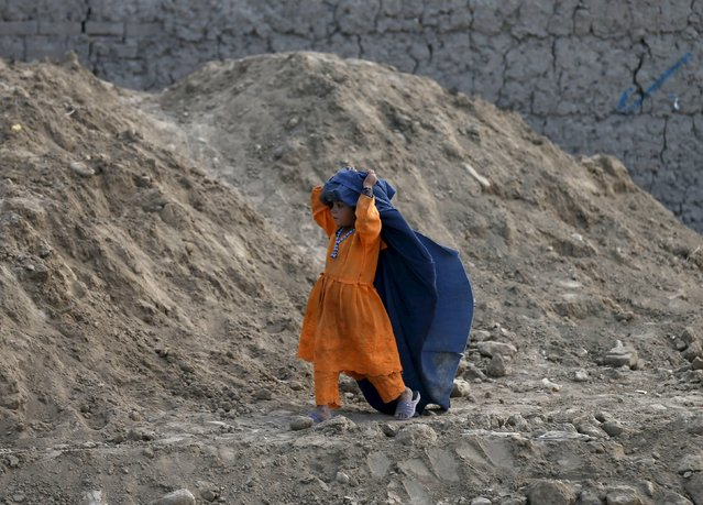 An Afghan girl wears a burqa for fun as she walks along a road in Kabul, Afghanistan April 27, 2015. (Photo by Mohammad Ismail/Reuters)