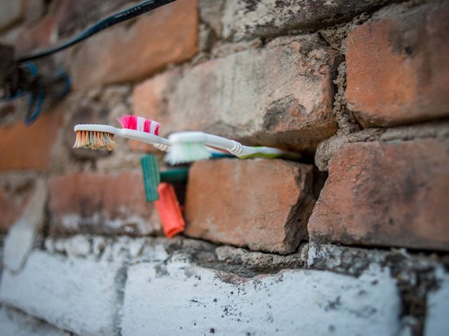 Tooth brushes stored between stones in the wall at Kajal Gautam's home, Nihura Basti, Kanpur. (Photo by Poulomi Basu/WaterAid)
