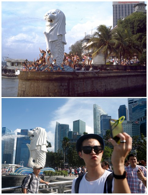 A combination picture shows Miss Universe 1987 contestants posing for a group photo next to the Merlion statue, a tourist landmark, at the mouth of the Singapore River (top) and on July 29, 2015. (Photo by Edgar Su/Reuters/National Archives of Singapore/Ministry of Information and the Arts)