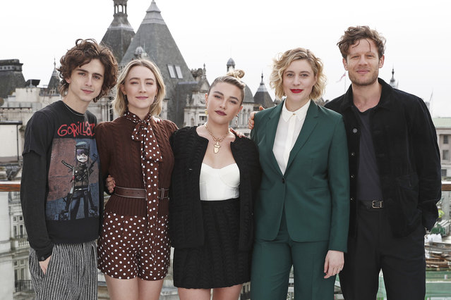 "(L to R)  Timothee Chalamet, Saoirse Ronan, Florence Pugh, Greta Gerwig and James Norton pose at a morning photocall for ""Little Women"" at the Corinthia Hotel London on December 16, 2019 in London, England.  (Photo by David M. Benett/Dave Benett/WireImage)"