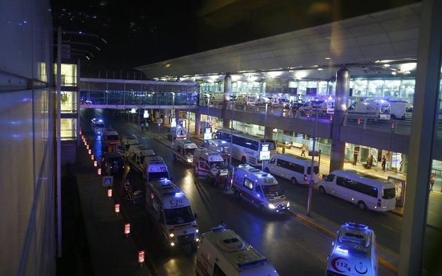 Ambulance cars arrive at Turkey's largest airport, Istanbul Ataturk, Turkey, following a blast June 28, 2016. (Photo by Osman Orsal/Reuters)