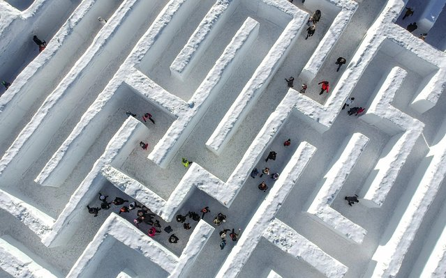 A drone view of visitors trying to find their way through the biggest snow maze of the world in in Zakopane, Poland on January 29, 2020. The snow maze idea was created for the first time in the winter season of 2015/2016. In 2020, it is a top attraction in the Snow capital of Poland, where visitors can enjoy more than 3000 square meters to find an exit. (Photo by Omar Marques/Anadolu Agency via Getty Images)