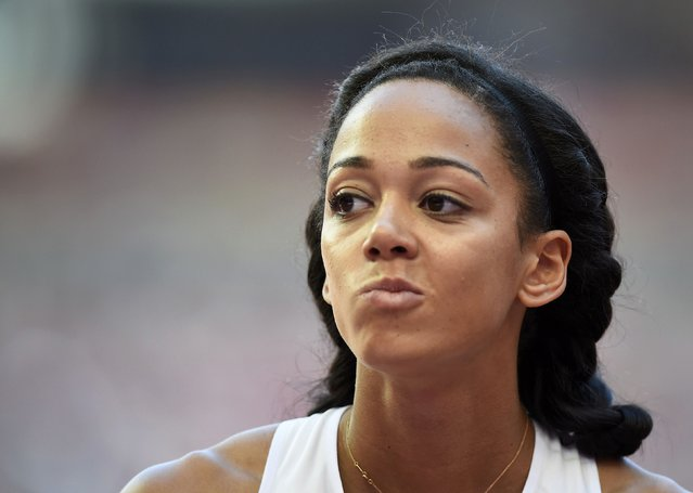 Katarina Johnson-Thompson of Britain reacts after an attempt as she competes in the high jump event of the women's heptathlon during the 15th IAAF World Championships at the National Stadium in Beijing, China, August 22, 2015. (Photo by Dylan Martinez/Reuters)