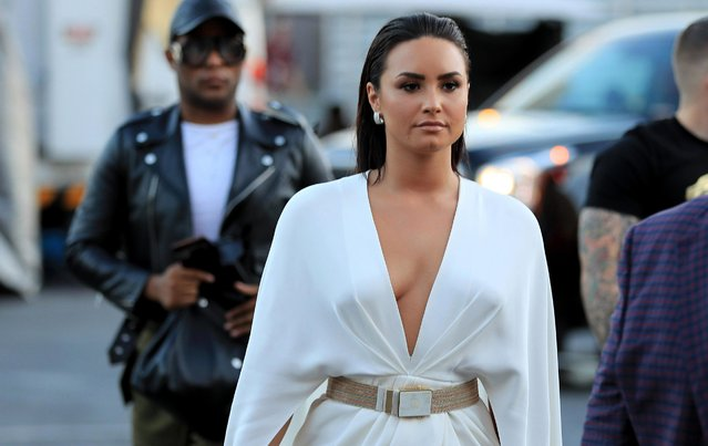 Singer Demi Lovato arrives for the super welterweight boxing match between Floyd Mayweather Jr. and Conor McGregor on August 26, 2017 at T-Mobile Arena in Las Vegas, Nevada. (Photo by Sean M. Haffey/Getty Images)