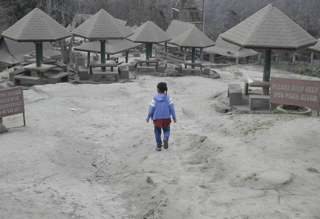 """A woman walks along a park covered in volcanic-ash at a town near Taal volcano in Tagaytay, Cavite province, southern Philippines on Sunday January 19, 2020. Philippine officials said Sunday the government will no longer allow villagers to return to a crater-studded island where an erupting Taal volcano lies, warning that living there would be """"like having a gun pointed at you"""". (Photo by Aaron Favila/AP Photo)"""