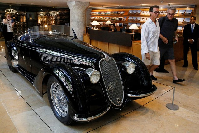 A 1939 Alfa Romeo 8C 2900B Lungo Touring Spider is displayed at Sotheby's in New York City, New York, U.S. July 21, 2016. (Photo by Brendan McDermid/Reuters)