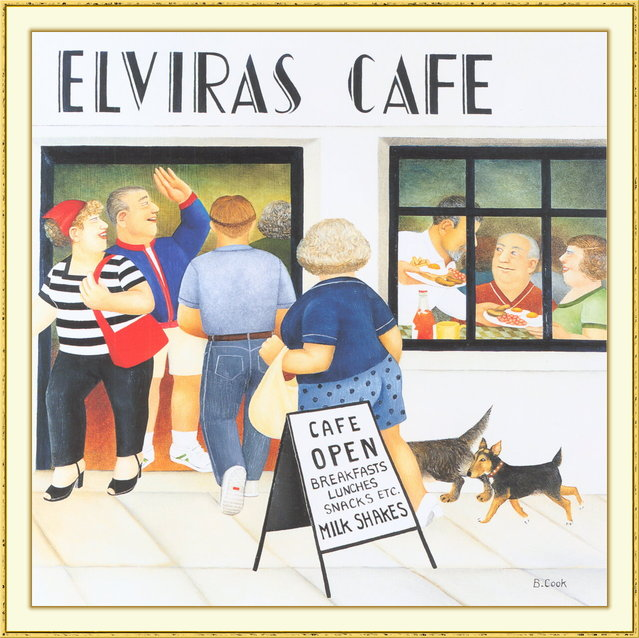Elvira's Cafe II. Artwork by Beryl Cook