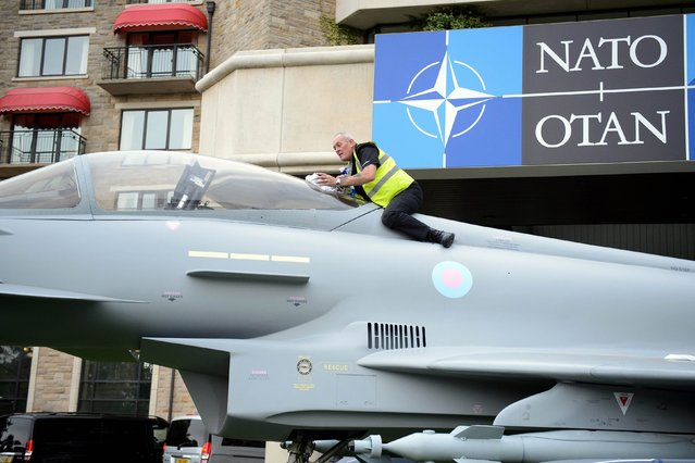 A craftsman from a model-making company applies final touches to a full-sized model of a Typhoon fighter jet at the Celtic Manor Hotel, ahead of the NATO summit, in Newport, Wales, September 3, 2014. (Photo by Leon Neal/Reuters)