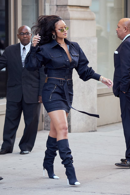 Singer Rihanna steps out wearing a blue Gucci outfit after visiting the gym earlier in the day in New York City, NY on October 12, 2017. (Photo by J. Webber/Splash News and Pictures)