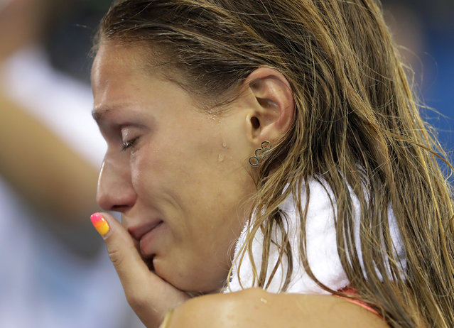 Russia's Yulia Efimova cries after placing second in the women's 100-meter breaststroke final during the swimming competitions at the 2016 Summer Olympics, Monday, August 8, 2016, in Rio de Janeiro, Brazil. (Photo by Matt Slocum/AP Photo)