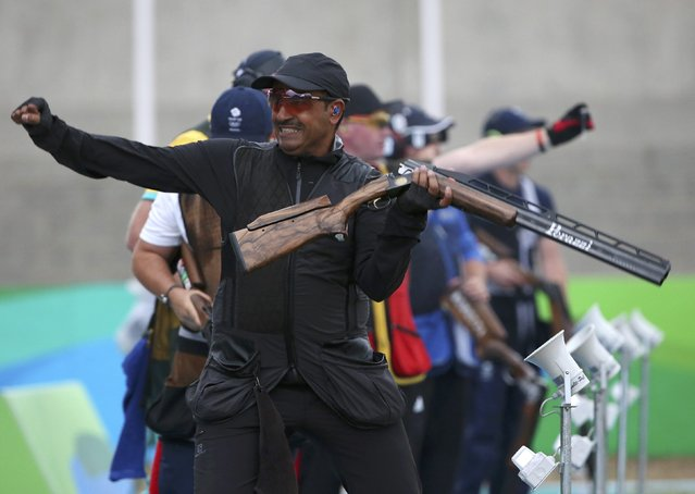 2016 Rio Olympics, Shooting, Final, Men's Double Trap Finals, Olympic Shooting Centre, Rio de Janeiro, Brazil on August 10, 2016. Fehaid Aldeehani (KUW) of Independent Olympic Athlete reacts after winning the gold medal. (Photo by Edgard Garrido/Reuters)