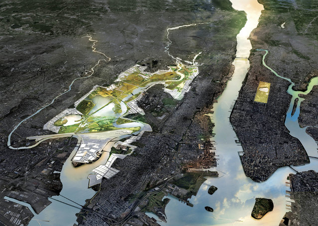 This illustration provided by Rebuild by Design in October 2017 shows a flood-mitigation design for the Meadowlands area of New Jersey, left. At right is New York. The New Meadowlands proposal would address fixes for the flood-prone area, including transforming the area into a flood-protected public park that would have a system of berms and marshes and also create connections with area towns. The proposal is part of the Rebuild by Design competition to create infrastructure that would protect coastal areas affected by Superstorm Sandy. (Photo by MIT-CAU-ZUS/Rebuild by Design via AP Photo)