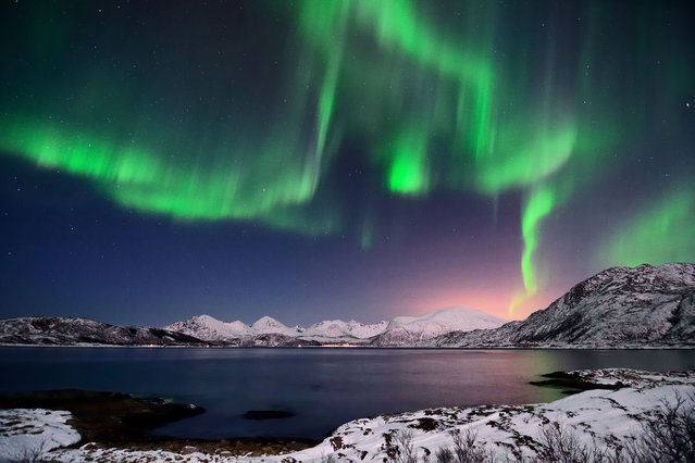 Aurora borealis in Troms, northern Norway. (Photo by John-Hemmingsen/Getty Images)