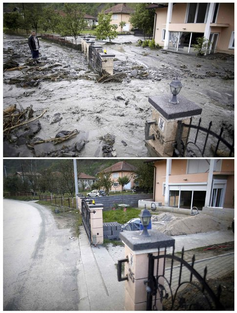 A combination photo shows Asim Skopljak standing on a street that was hit by floods during floods May 16, 2014 (top) and the same place on after floods October 8, 2014 in Topcic Polje. (Photo by Dado Ruvic/Reuters)