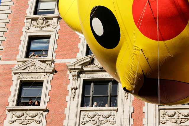 Pikachu is carried down Central Park West during the 91st Macy's Thanksgiving Day Parade in the Manhattan borough of New York City, New York, U.S., November 23, 2017. (Photo by Eduardo Munoz/Reuters)