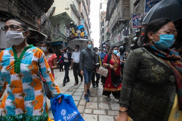 A local market getting busy and crowded as the lockdown came to an end in Kathmandu on July 23, 2020. Nepal government has formally ended the nationwide lockdown enforced from March 24th to stem the spread of coronavirus. (Photo by Prabin Ranabhat/SOPA Images/LightRocket via Getty Images)