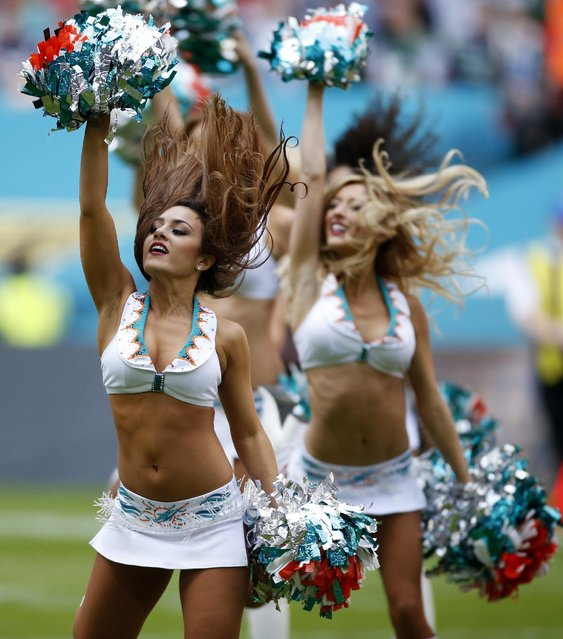 American Football, Miami Dolphins vs New York Jets, NFL International Series, Wembley Stadium, London, England on October 4, 2015: Miami Dolphins Cheerleaders. (Photo by Paul Childs/Reuters/Action Images)