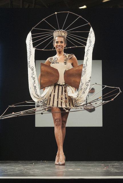 Elizabeth Tchoungui walks the runway during the Chocolate fashion show as a part of the Salon Du Chocolat 2015 - Chocolate Fair at Parc des Expositions Porte de Versailles on October 27, 2015 in Paris, France. (Photo by Kay-Paris Fernandes/WireImage)