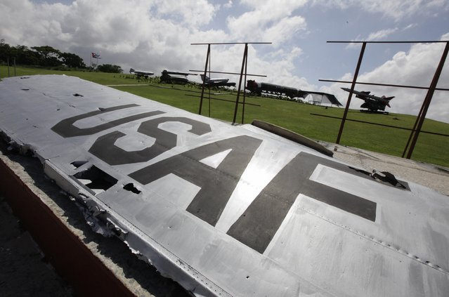A wing of a U.S. Air Force U2 reconnaissance aircraft downed by the Soviets in Cuba in 1962 is displayed along with other Soviet-made Cold War relics at La Cabana fortress in Havana in an October 13, 2012 file photo. The United States will restore diplomatic relations it severed with Cuba more than 50 years ago, a major policy shift ending decades of hostile ties with the communist-ruled island, President Barack Obama said on Wednesday. (Photo by Desmond Boylan/Reuters)