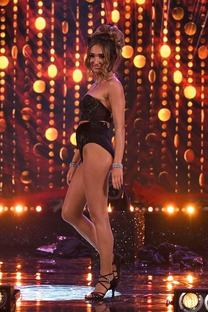 """Megan McKenna performs at """"The Real Full Monty: Live"""" TV show at Sheffield City Hall, England on March 29, 2018. (Photo by James Gourley/ITV/Rex Features/Shutterstock)"""