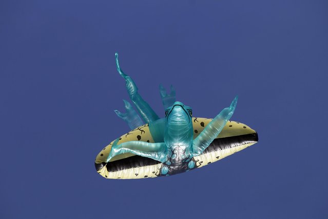 A balloon depicting a lizard, is seen flying during the 14th Solar Balloon Festival in Envidago December 31, 2014. (Photo by Fredy Builes/Reuters)