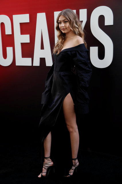 """Model Gigi Hadid poses as she arrives at the world premiere of the film """"Ocean's 8"""" at Alice Tully Hall in New York City on June 5, 2018. (Photo by Mike Segar/Reuters)"""