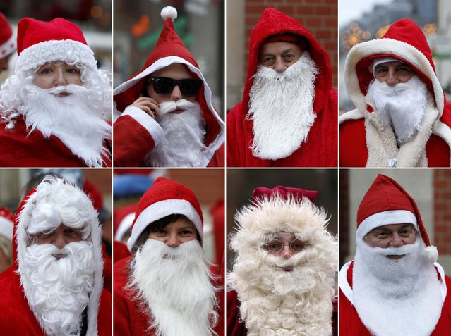 Combination photo of people dressed as Santa Claus taking part in the 22nd Santa Claus meeting in Auerbach, Germany, December 6, 2015. (Photo by Michaela Rehle/Reuters)