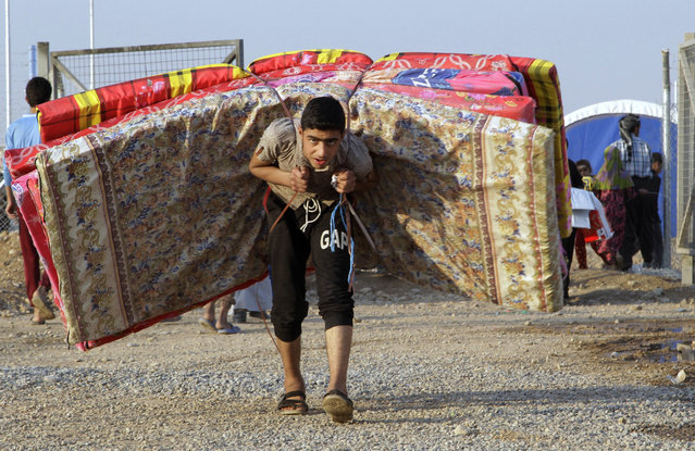 An Iraqi youth displaced by fighting in Mosul carries mattresses at a camp for internally displaced people in Khazer, Iraq, on Tuesday, November 8, 2016. (Photo by Adam Schreck/AP Photo)